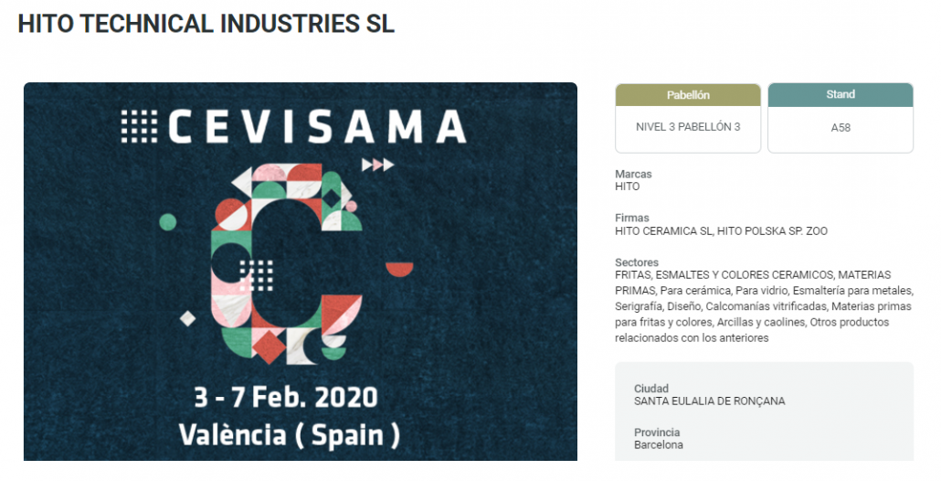 CEVISAMA 2020 - hito Technical Industries, S.L.
